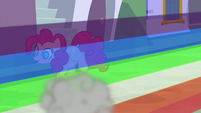 Rainbow Dash speeds past Pinkie Pie S9E1