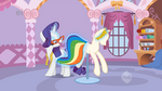 Rarity fixing Rainbow Dash's dress S1E14