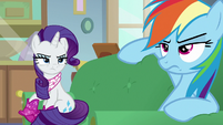 Rarity looking bitterly at Rainbow Dash S8E17