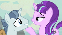 Starlight puts her hoof onto Party's chin S5E02