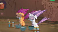 Sweetie Belle and Scootaloo affected by the explosion S6E4