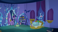 Twilight Sparkle finds Spike sleeping in S8E11