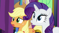 AJ and Rarity in varying degrees of surprise S7E1