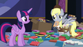 Derpy shaking her head at Twilight S6E25.png