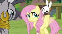 Fluttershy swatting her hoof at Angel S9E18