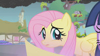 Fluttershy tries to talk to Twilight S1E07