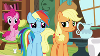 Pinkie, Rainbow, and Applejack listen to Fluttershy S7E5