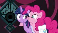 Pinkie puts a hoof around Twilight S8E25