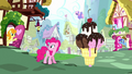 Ponies appear in Pinkie's dream Ponyville S5E13.png