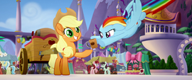 Rainbow returns empty cup to Applejack MLPTM