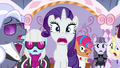 Rarity, contest ponies, and judges in extreme shock S7E9.png
