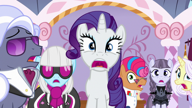File:Rarity, contest ponies, and judges in extreme shock S7E9.png