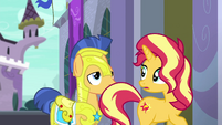 Sunset Shimmer looks back at Flash Sentry EGFF