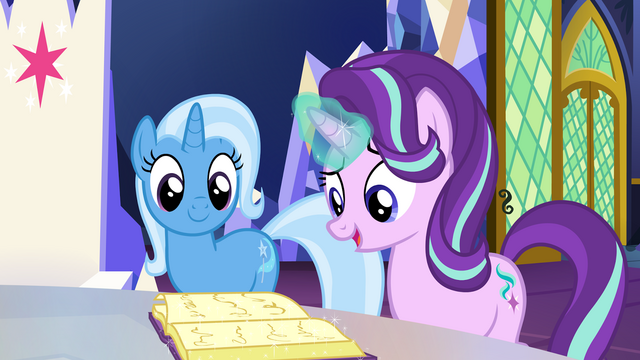 File:Trixie and Starlight looking at a book S7E2.png