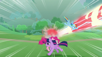 Twi, RD, and Pinkie dodging Cozy's blasts S9E25