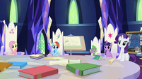 Applejack's friends all looking at her S9E4
