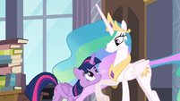 Celestia lifting Twilight's head with her leg S4E01