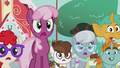 Cheerilee and foals surprised by Diamond Tiara S5E18.png