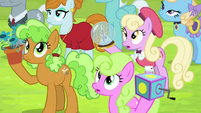 Crowd of ponies listening to Twilight S4E22