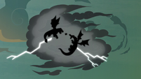 Flash and dragons' silhouettes in the thundercloud S7E16