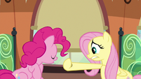Fluttershy closing the train window curtain S6E18