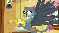 Gabby holding Gilda's letter to Rainbow Dash S6E19