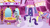 High-society ponies look at excited Rarity S6E14