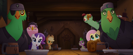 Main ponies and parrots staring in awe MLPTM