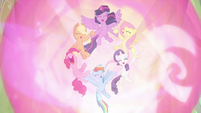 "Mane Six declaring ""friendship is magic!"" S9E2"
