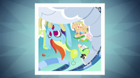 Photo of Rainbow and gals flipping upside-down S8E5