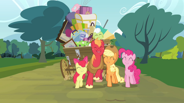 File:Pinkie Pie and the Apple family together S4E09.png