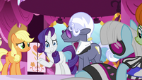 Rarity playing off Applejack's blunt honesty S7E9