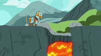 Rockhoof watches the lava fall into the water S7E16