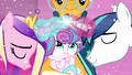 Shining Armor and Cadance cross horns and uses magic S6E2.png