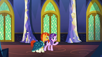 Starlight and Sunburst in a castle corridor S7E25