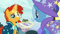 Sunburst shuffling a deck of cards S7E24