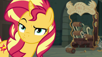 Sunset Shimmer raises an eyebrow at Twilight EGFF