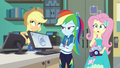 AJ and Rainbow roll their eyes at Fluttershy EGFF.png