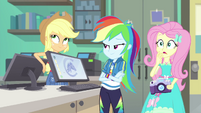 AJ and Rainbow roll their eyes at Fluttershy EGFF