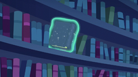Another book floating off the bookshelf S6E21