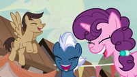 Cool Beans, Night Glider, and Sugar Belle laughing at Starlight S6E25