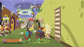 Discord hangs decorative rug on the wall S7E12.png