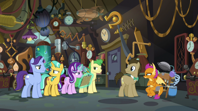 File:Everyone in Dr. Hooves' lab in silence S9E20.png