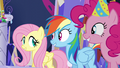 Fluttershy, Dash, and Pinkie in agreement S5E3.png