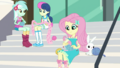 Fluttershy, Lyra, and Sweetie Drops in knitting club EGDS4.png