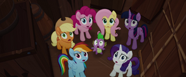 Mane Six and Spike discovered on the airship MLPTM