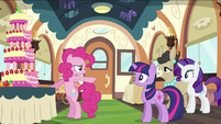 Pinkie Pie pointing at Twilight S2E24