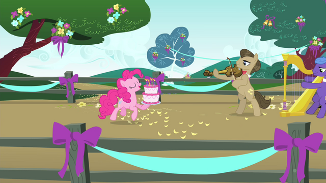Image Pinkie Pie trotting with birthday cake S4E23png My