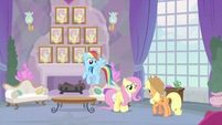 RD, Fluttershy, and AJ in the teachers' lounge MLPS3