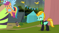 Rainbow carries Scootaloo out of the stadium S8E20